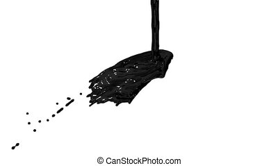 Flow of black paint like oil splattering on white background...