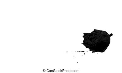 Flow of black paint like oil splattering on white background and dripping down over white. 3d render with alpha mask for background, transition or overlays. Version 1