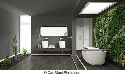Minimalist gray bathroom with vertical and succulent garden, wooden floor and pebbles, hotel, spa, modern interior design