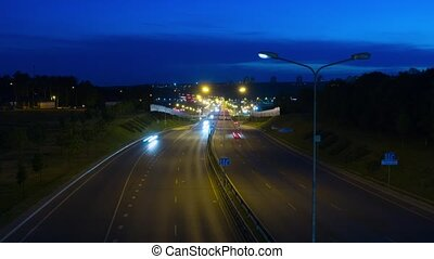Large highway at night, time-lapse