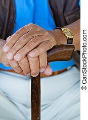 mano, hombre, bastón, 3º edad, incapacitado