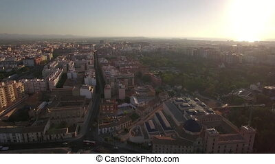 Aerial view of Valencia at sunset, Spain - Aerial shot of...