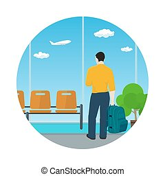 Icon Airport , Waiting Room with Man - Man with a Backpack...