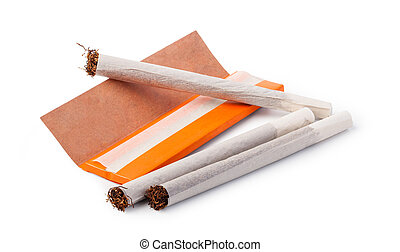 Hand rolled cigarettes on a white