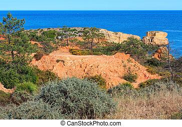 Atlantic rocky coast view (Algarve, Portugal). - Summer...