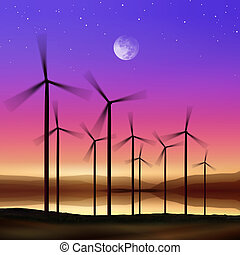wind turbines at night - silhouette of wind turbines...
