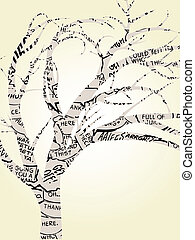 Single Tree Outlined by Comic Book - Abstract comic book...