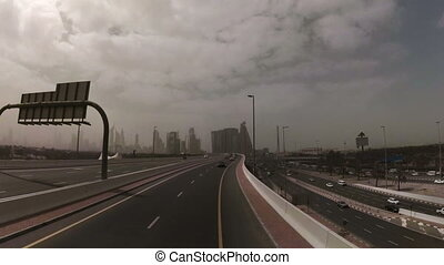 timelapse of a road in Dubai, UAE - On the road going...