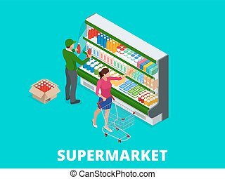 Woman shopping milk in grocery store. Isometric Supermarket...