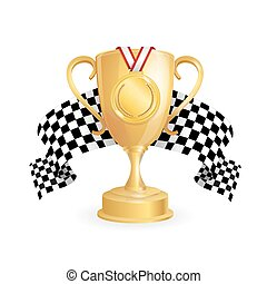 Gold Cup, Medal and Checkered Racing Flag Auto. Vector