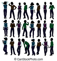 Assorted School Kids Illustration Silhouette - Assorted...