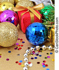 Varicolored Christmas decorations for background
