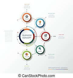 Vector infographic template with 3D paper label, integrated circles.