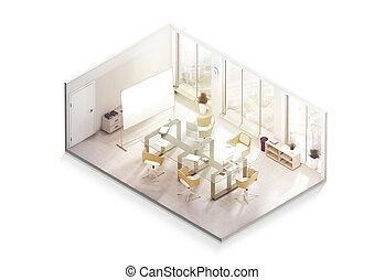 Office interior design mockup inside, isometric view, 3d...