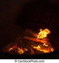 Fire flames on black background - barbecu fire place