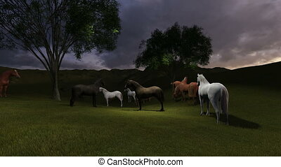 scene of Morning Pasture. Herd of horses grazing in a...