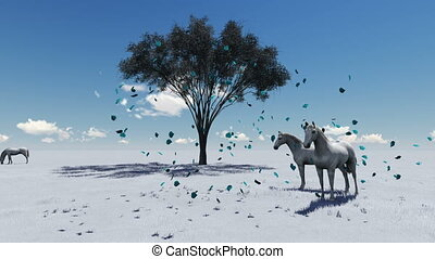 3d animation-scene of Morning Pasture. Horses grazing in a...