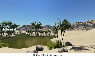3d animation - oasis in a desert, dark blue clear water...