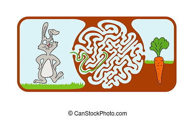 Maze puzzle for kids with rabbit and carrot, labyrinth illustration with solution.
