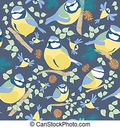 Blue tit pattern. Cartoon birds. Hand drawn vector...