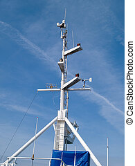 Ship boat bridge communication mast - Details of a...