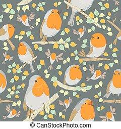 Robin pattern. Cartoon birds. Hand drawn vector illustration