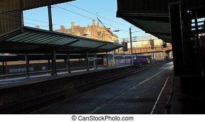 Short train departing Preston station - Short commuter train...