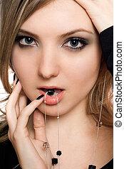 verticaal,  close-up, meisje, sensueel
