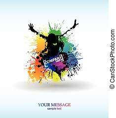 Colour grunge the poster. Abstract background vector