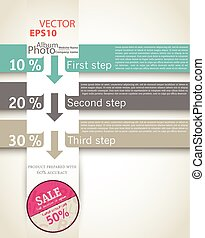 One, Two, Three, Retro Vector Paper Progress Steps for Tutorial, Infographics