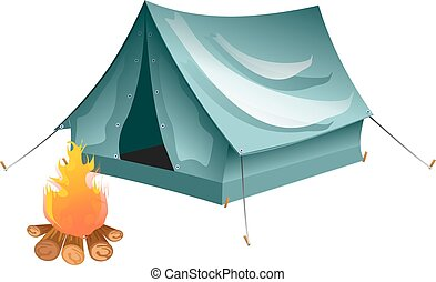 Cartoon tent and set bonfire isolated.