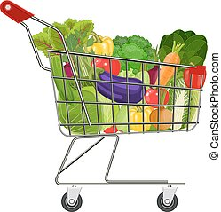 Full supermarket shopping cart with different healthy food....