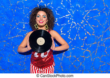Outgoing african female holding music platter - Portrait of...