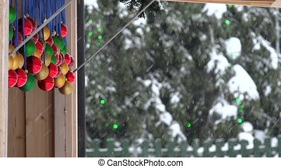toys move in wind and christmas tree background in christmas...