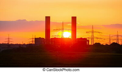 Power Station Timelapse At Sunset - Time lapse sequence of a...