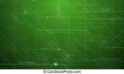 Green Abstract Hi-Tech Technology Pattern. - Hi-Tech...
