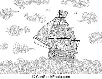 Contour image of sailing ship on the wave in zentangle...