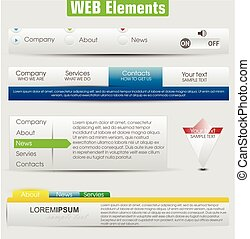 Web design template elements with icons set: Navigation menu...