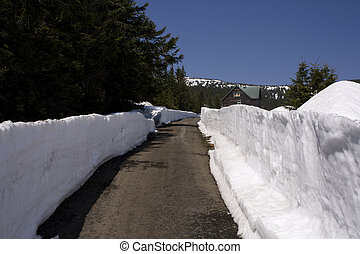 Snow-ploughed road in mountains