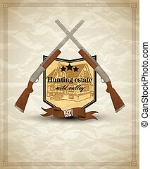 Vintage emblem with shield and weapon - gun for hunter. Abstract background