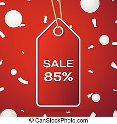 Red pennant with an inscription Big Sale eighty five percent Discounts over a red background and confetti. Sale concept for shops store market, web and other commerce. Vector illustration