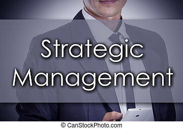 Strategic Management - Young businessman with text -...