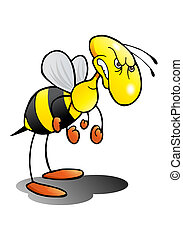 mad as a hornet - illustration of an angry hornet over...