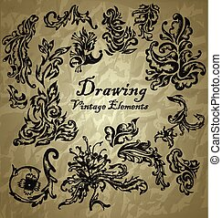 vector set: calligraphic design elements and page decoration - lots of useful elements to embellish your layout