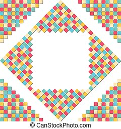 Colorful mosaic square block pattern in the corner for abstract background concept