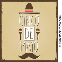 Cinco De Mayo retro poster with sombrero. Vector illustration.