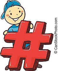 Stick Boy Holding a Hashtag Icon - Vector Illustration of...