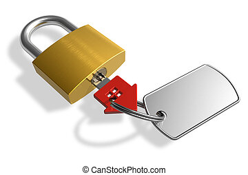 Padlock with house-shape key