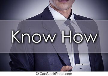 Know How - Young businessman with text - business concept -...