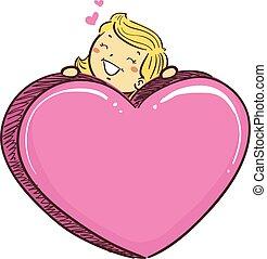 rosa, corazón, grande, símbolo, palo, niña, niño